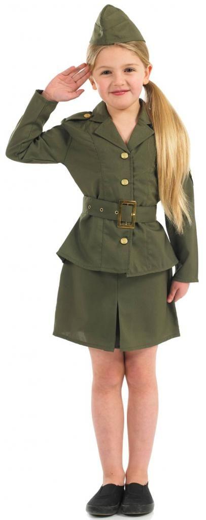 Girls WWII Army Fancy Dress by Fun Shack 2969 | Karnival Costumes