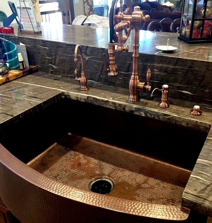 One Of Our Customeru0027s New Wheel Faucet On A Amazing Copper Sink. The  Faucetu0027s Antique