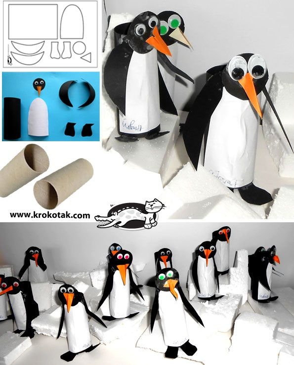 Penguins+from+empty+toilet+paper+rolls