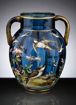 Antique Glass, Art Glass, Moser, Bohemian Glass Vase  M.S. Rau Antiques