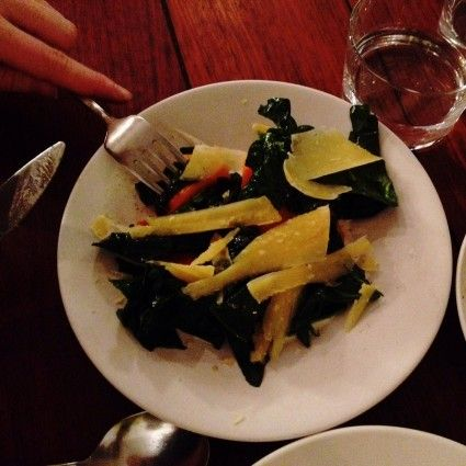 tapas style plate photo Dauphin #paris - #Spinach with pumpkins and #parmesan #cheese