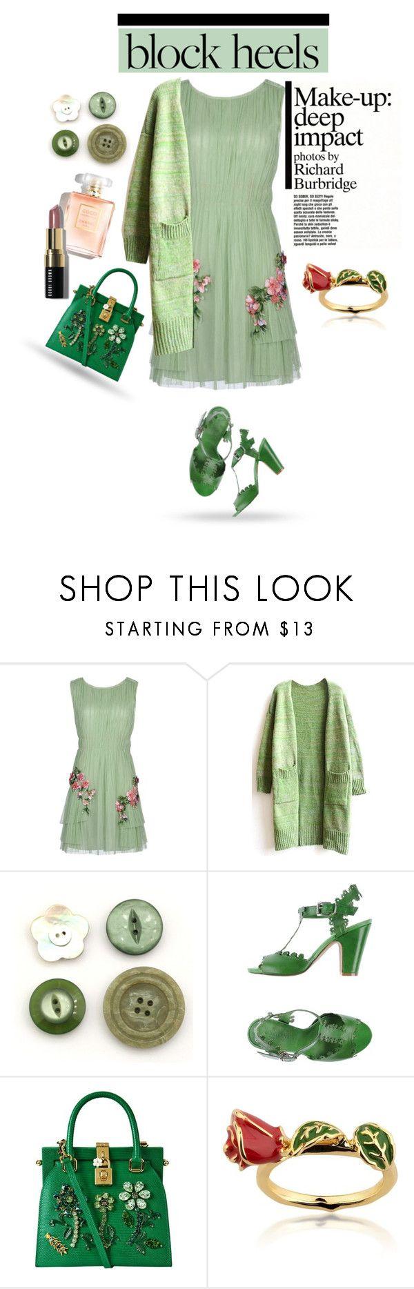"""Block Heels , contest"" by anne-977 ❤ liked on Polyvore featuring Alberta Ferretti, WithChic, Alternativa, Dolce&Gabbana, Disney, Bobbi Brown Cosmetics, blockheels and polyvorecontest"