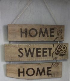 Tekstbord pallethout, reclaimed wood, Home sweet home €13,50