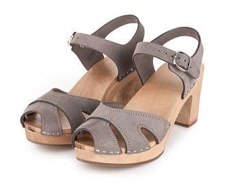 Clog   Swedish Clogs   Shoes   Sandals   swedish   clog sandals   wooden   women clogs   dansko   wood   leather   lotta  high heel   Gray