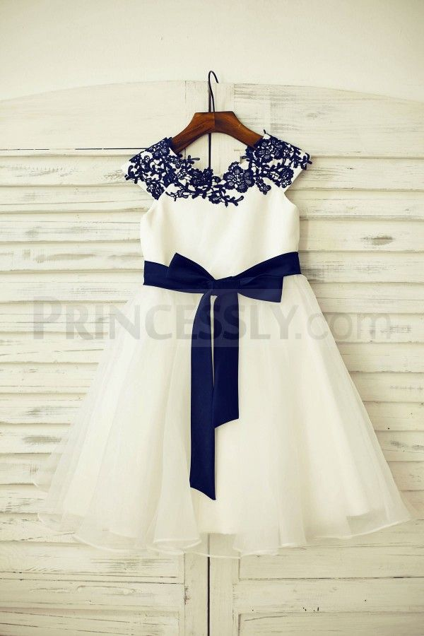 Navy Blue Lace Ivory Satin Organza Flower Girl Dress with navy blue sash