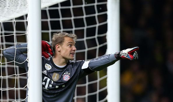 Goalkeeper Manuel Neuer of Bayern Muenchen gestures during the DFB Cup Final match 2014 between Borussia Dortmund and Bayern Muenchen at Olympiastadion on May 17, 2014 in Berlin, Germany.