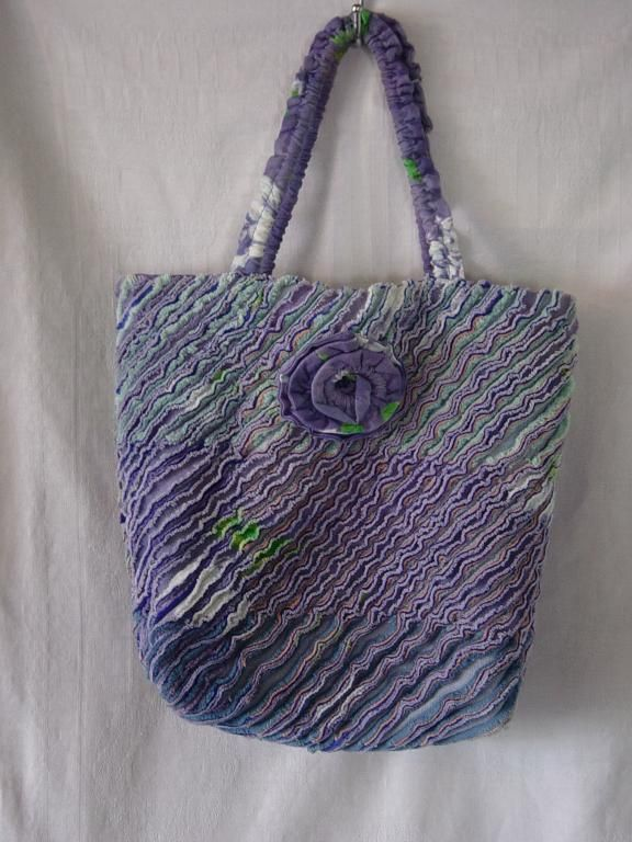 Chenille Bag - made from layers of scrap and offcut fabrics stitched, slashed and scrubbed to create layered chenille - #MyFavouriteMakes
