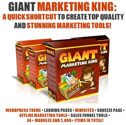 """Giant Marketing King is an amazing product that contains thousand of marketing tools and it can help you easily creates unlimited """"money making site"""" each with a highly professional design!"""