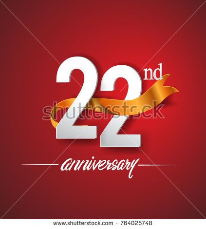 22nd anniversary logotype with golden ribbon isolated on red elegance background, vector design for birthday celebration, greeting card and invitation card.
