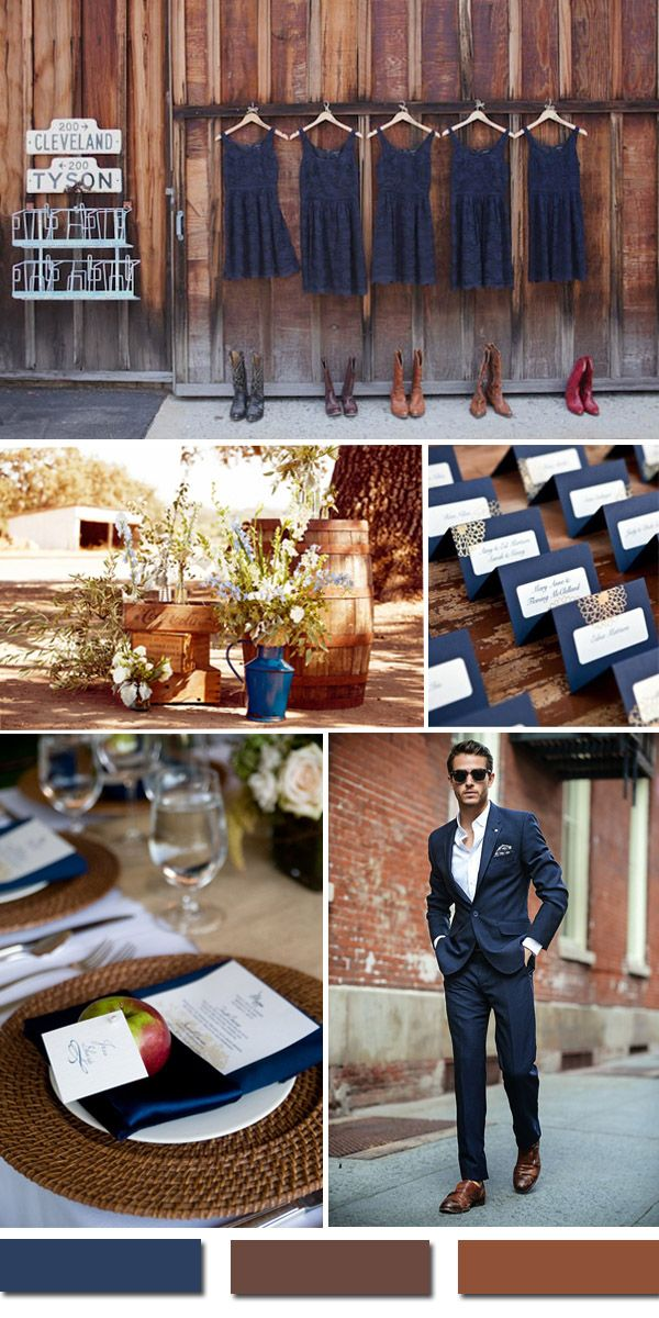 dark blue and brown rustic farm wedding ideas
