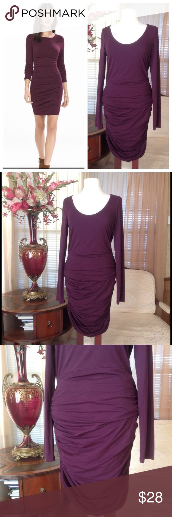 Express ruched burgundy sweater dress Never worn. No signs of wear.                      b Express Dresses
