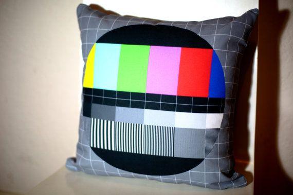 TV Test Screen Cushion by Honey's Dead #testscreen #cushion #etsy #honeysdead