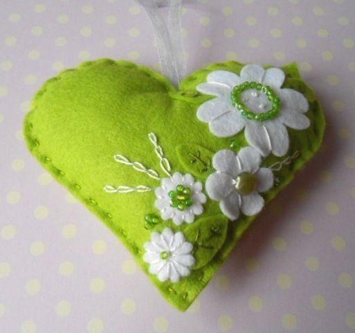 Green Felt Heart