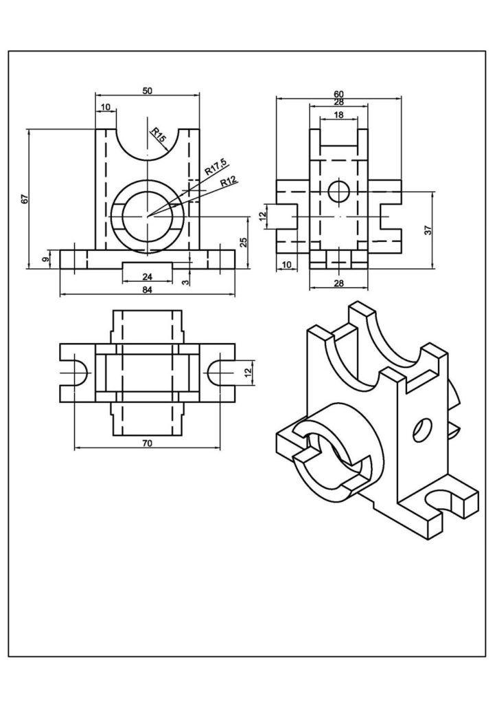 Teknik Resim Ornekleri Izometrik Cizimler Ve Gorunusleri Makine Egitimi Ejercicios De Dibujo Dibujo Tecnico 3d Vistas Dibujo Tecnico