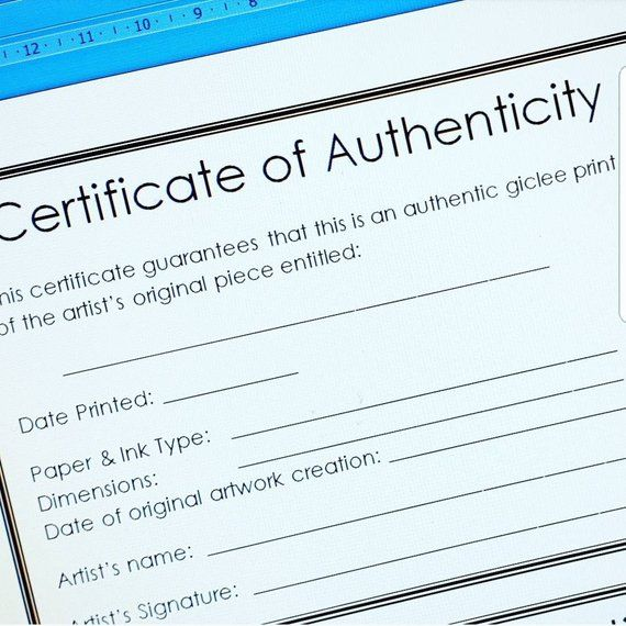 Modern Certificate Of Authenticity Template For Artists For Fine