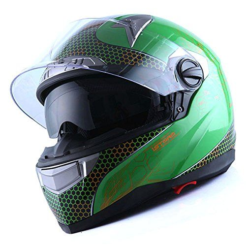 1STorm Motorcycle Street Bike Dual Visor/Sun Visor Full Face Helmet Element Green, Size Small(53-54 CM,20.9/21.3 Inch). For product info go to:  https://www.caraccessoriesonlinemarket.com/1storm-motorcycle-street-bike-dual-visorsun-visor-full-face-helmet-element-green-size-small53-54-cm20-921-3-inch/