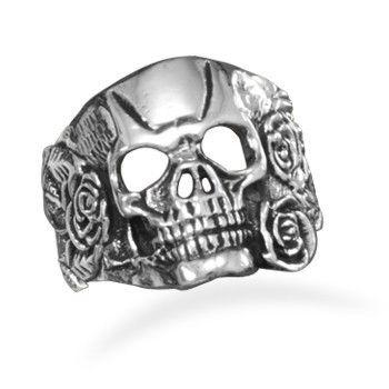 Men's White Brass Roses Skull Ring – Tribal Native LA http://www.tribalnative.com/products/mens-white-brass-wings-skull-ring-w8081