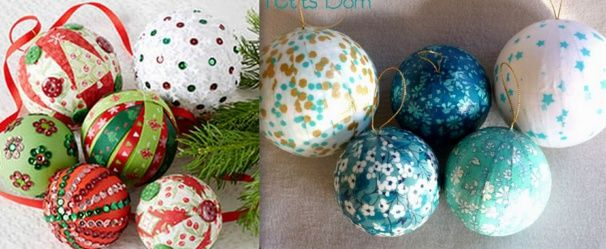Décorer des boules polystyrène en boules de Noël | Boule