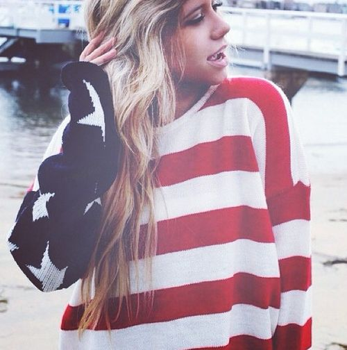 love the red white and blue american flag sweater! this would go great with a pair of white shorts and American flag boots i seen on ShoeDazzle.com:)