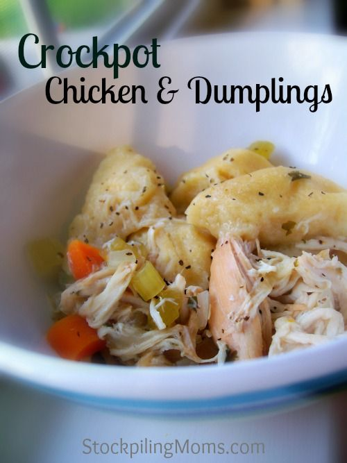Crockpot Chicken & Dumplings is a great one pot meal! I love making this meal on rainy days and enjoying the warm comfort it brings me!  A great dinner recipe.  Must Pin!