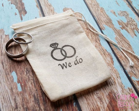These cute 3 x 4 muslin ring bags are hand stamped with we do and a wedding band design as shown in photos. It makes a great wedding day
