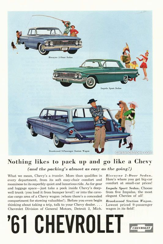 1961 Chevrolet - Nothing likes to pack up and go like a Chevy - Original Ad