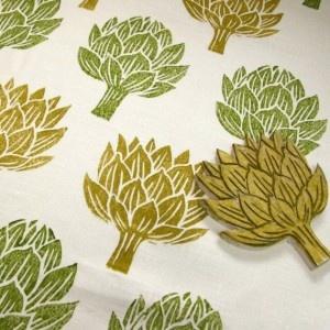 artichoke tea towel hand printed