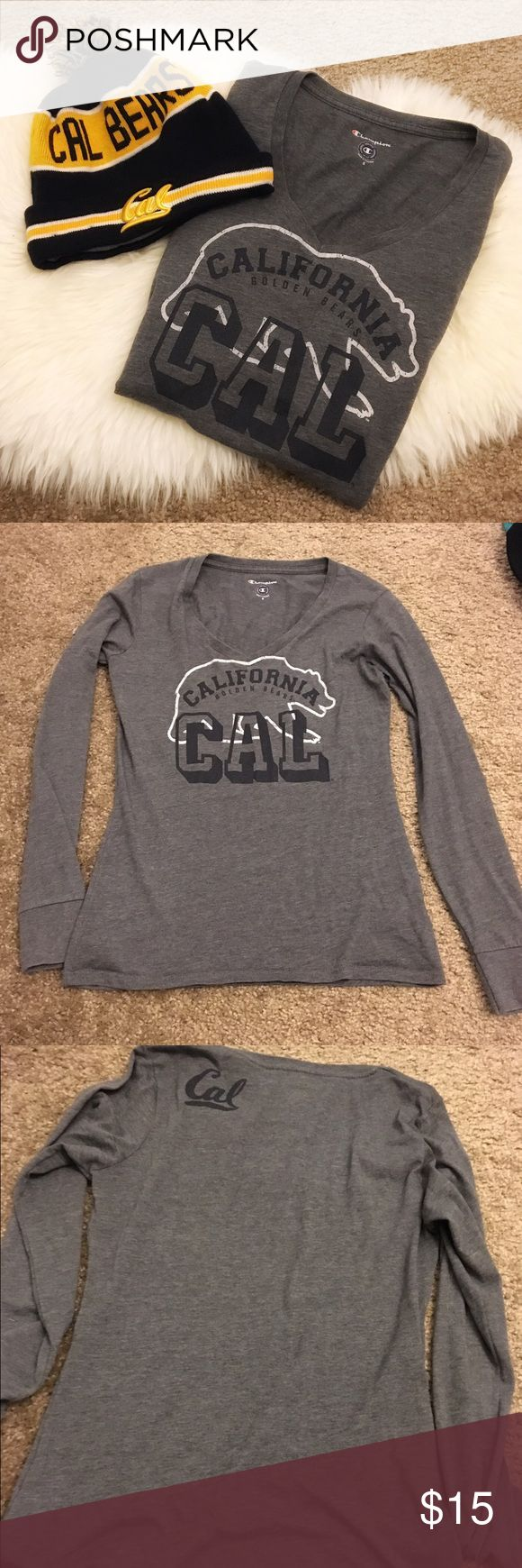 UC Berkeley Cal Grey Long Sleeve Top Worn a few times with slight pilling. Beanie is not included and only used for cover photo. Tops Tees - Long Sleeve