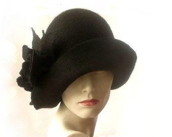 Brown Felted Hat felt hat Cloche Hat Flapper 1920 by Feltpoint