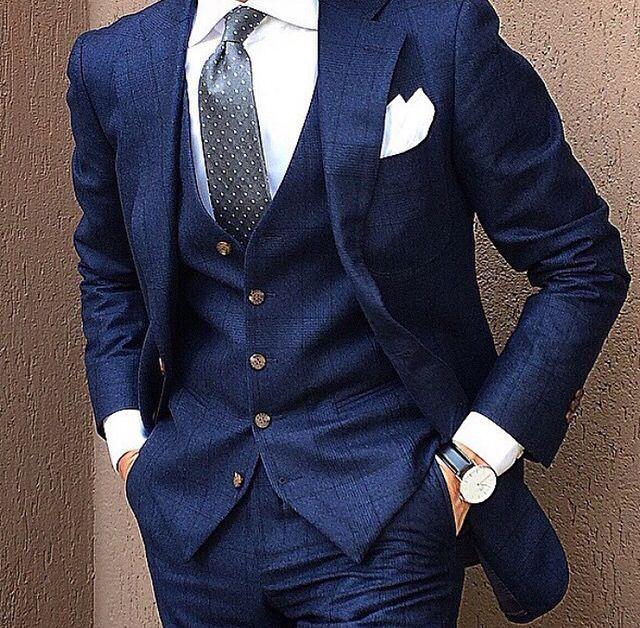 Fav! Windowpane blue 3 piece suit.