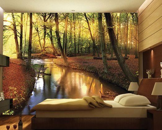 MURALES CON IMAGENES DE BOSQUE PARA TU DORMITORIO Hola Chicas!!! Me encantan los murales con imagenes de bosques en el dormitorio, dan la sensación de que estas durmiendo al aire libre