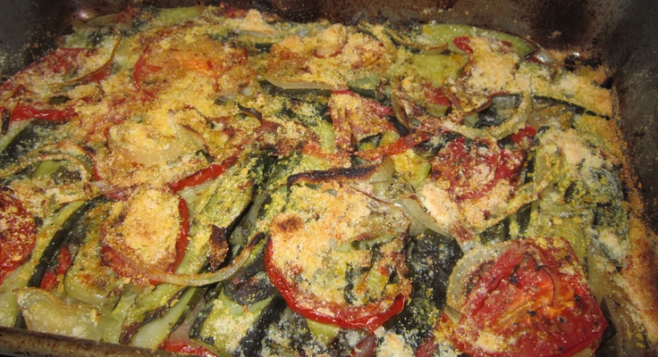 """A bunch of recipes to make when you have too much basil in your fridge: this is the """"Baked Zuchini and Basil"""".. I used 2 Tbs of low fat parm + 1Tbs nutritional yeast instead of 1/2 cup parm and it turned out good"""