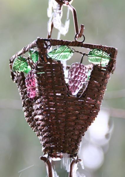 Rain Chain Basket and Glass Copper Cups