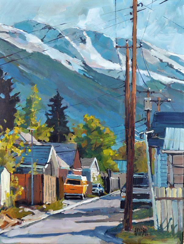 Randy Hayashi (Canadian) VW Down the Lane 12 x16 (Jasper Alberta) hayashi.ca