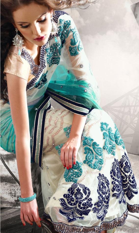 Cream Coloured Lehenga Sari with Velvet Floral by SassySaris, $140.00