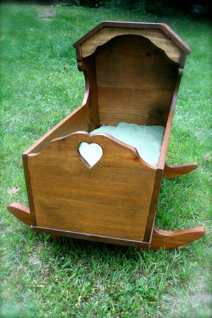 Vintage Handmade Wooden Cradle Bassinet.