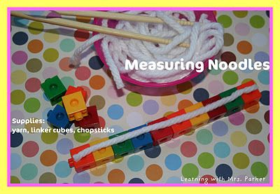 "For Chinese New Year, cut yarn ""noodles"" and have students measure them! Easy and fun math station!"