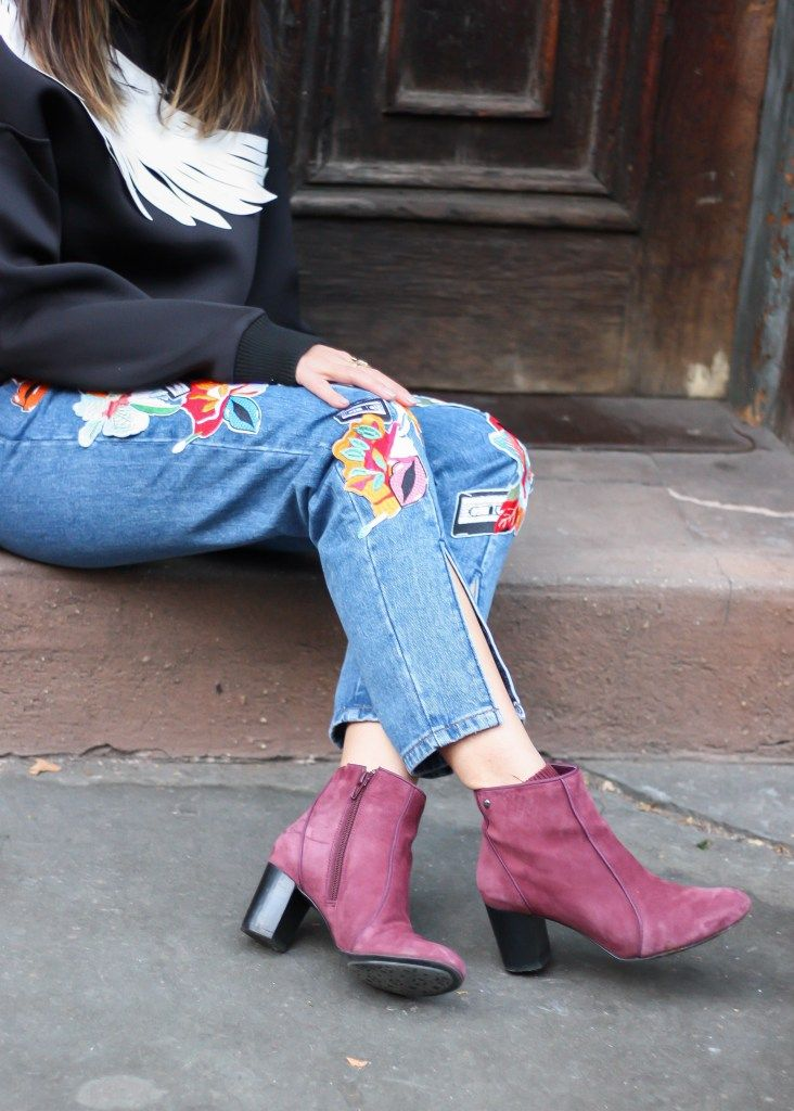 Hush Puppies boots, wine red suede booties, how to style ankle boots. See the full look on www.layersofchic.com
