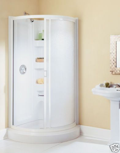 Corner shower stall small spaces bath pinterest - Shower stall small space pict ...