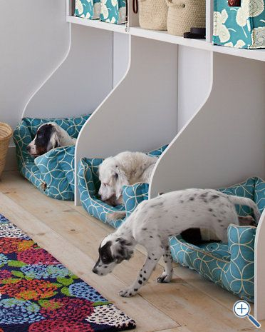 Dog beds with storage above. Good idea for dog room!
