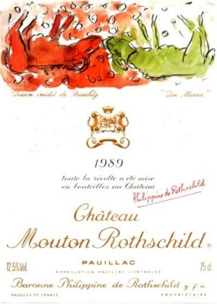 1989 Mouton Rothschild label by Georg Baselitz