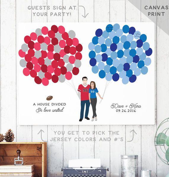 Football Wedding Canvas Guest Book   House by MissDesignBerryInc