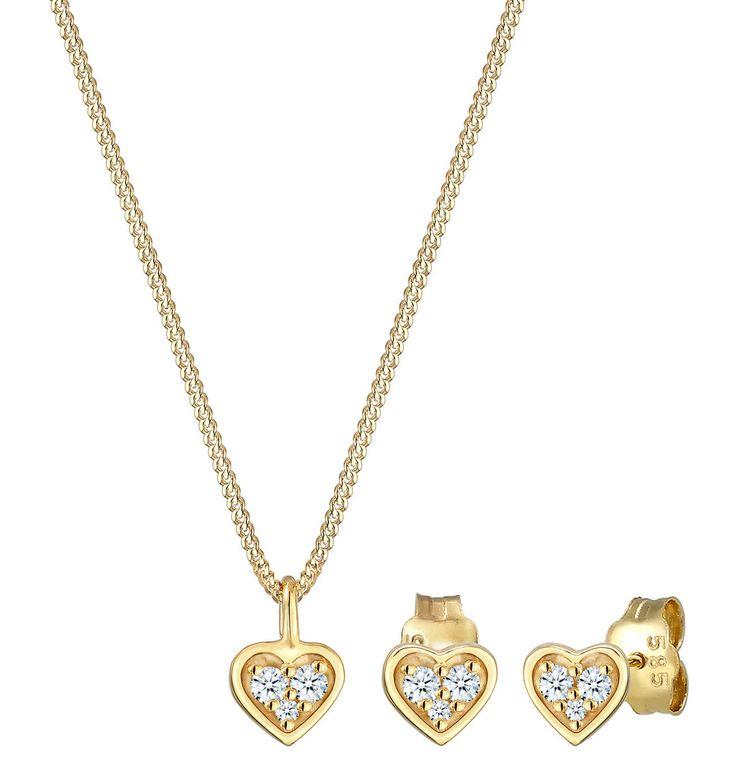 DIAMORE Schmuckset Herz Liebe Valentin Diamant (0.13 Ct) 585 Gelbgold – GALERIA Karstadt Kaufhof