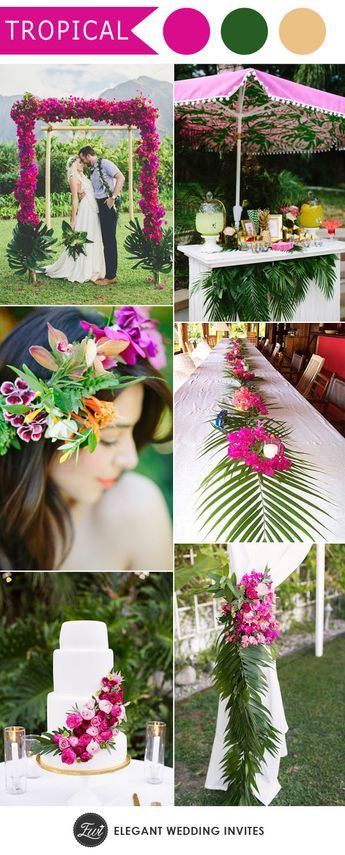 Really like the Palm Tree decor in this wedding - maybe with Palm Tree and Succulents? Or just blue flowers?