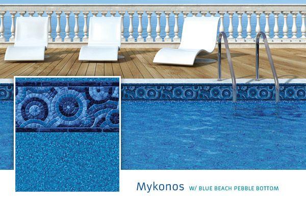 2015 Loop Loc Liner Options - Premier Pool & Spa - Mykonos with Blue Beach Pebble Bottom