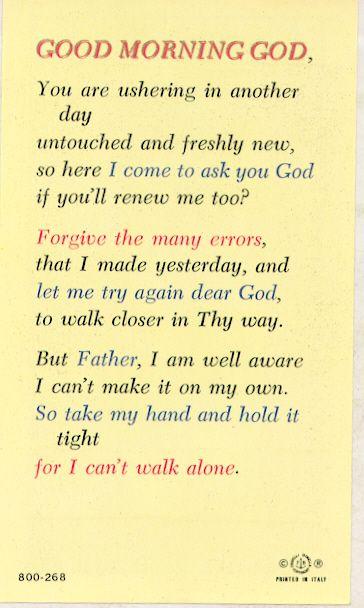 good morning god prayer | Watra Church Goods - Good Morning God Laminated Holy Card #800268 ...