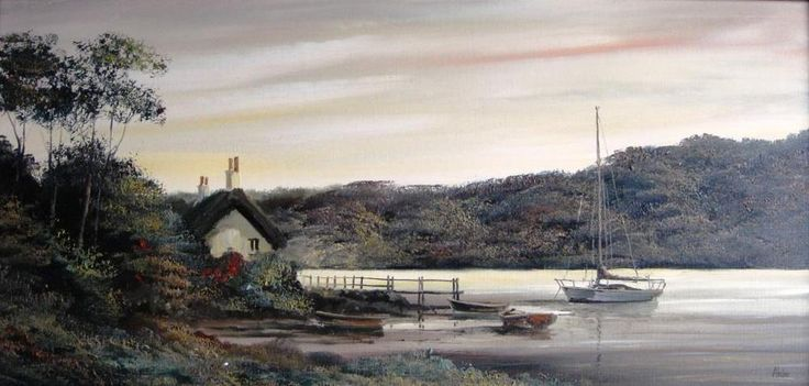 Alan King (Akin) oil Eventide near Malpas on the River Truro Cornwall signed