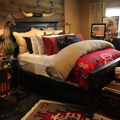 western bedroom ideas. Inspiring Rustic Bedroom Ideas to Decorate with Style  Black Bed Design Headerboard Wooden Wall Red Quilt In Best 25 Western bedroom themes ideas on Pinterest