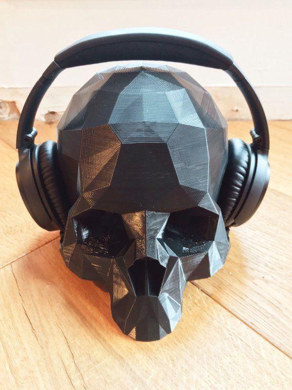 Skull Headphone Stand Holder For Over Ear Gaming Headsets 3d Etsy Skull Headphones Headphone Stands Gaming Headset