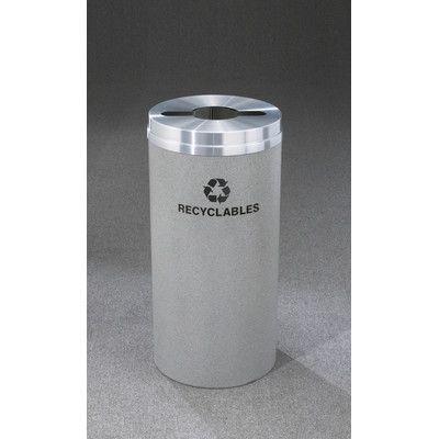 "Glaro, Inc. RecyclePro 16-Gal Single Stream Industrial Recycling Bin Size: 31"" H x 12"" W, Finish: Gray"